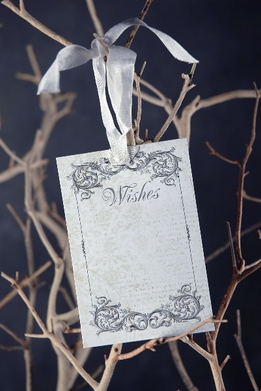 Handmade Wishing Tree Tags Black Ink Silk Ribbon (24 tags)