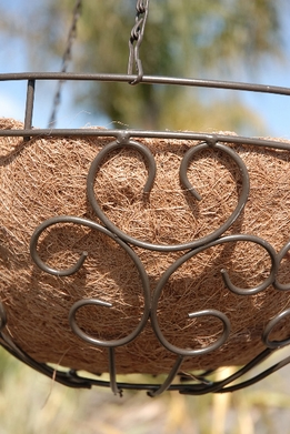 Brown Hanging Basket with Coco Liner