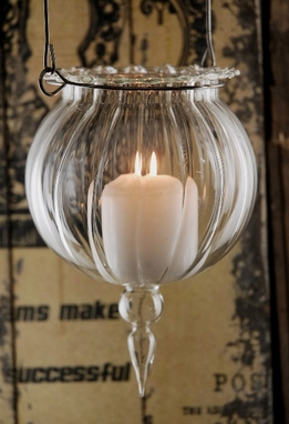Glass Hanging Candle Holder 7in