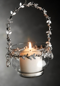 Hanging Candle Holder Glass & Metal
