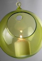 Hanging Glass Orb Lime Green 6""