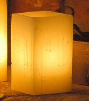 "Hollow Wax Luminaria Ivory Rectangle 7"" x 5.5"" Reusable Candle Display"