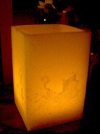 "Hollow Wax Luminary Ivory 8.5"" x 5.5 Reusable Candle Display"