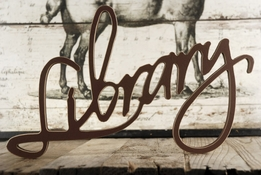 "Home Decor Wood Sign ""Library"" Brown 16.5"""