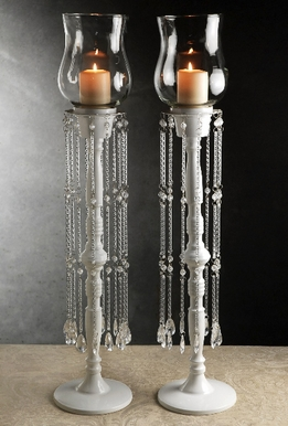 "Hurricane Candleholders with Crystals 28"" (Set of Two )"