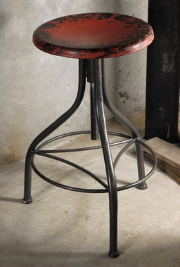 Vintage Metal Stool Red