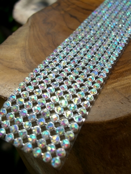 "Iridescent Diamond Ribbon Trim with Stones 8 Rows 1-1/8"" wide 18.5"""