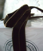 "Italian Doube Faced Velvet Ribbon Chocolate Brown 3/8"" width 11.5 feet"