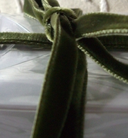 "Italian Velvet Double Faced Ribbon Olive Green 3/8"" width 11.5 feet"