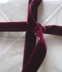"Italian Velvet Ribbon Double Faced Soft Wine Burgundy 3/8"" wide 11.5 feet"