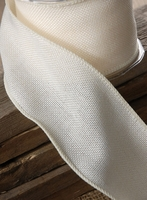 "Ivory Burlap Fine Wired Ribbon 3"" width 10 yards"