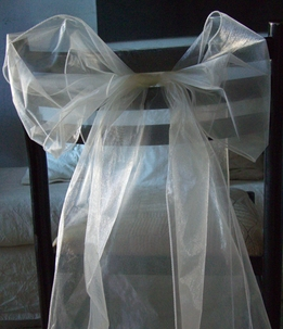 Organza Chair Sashes in Ivory (Pack of 10)