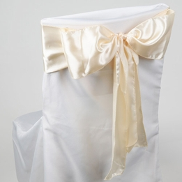 Ivory Satin Chair Sashes (Pack of 10)