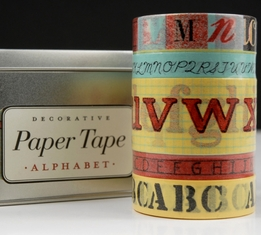 Japanese Washi Style Alphabet Paper Tape Assortment by Cavallini (5 rolls asst)