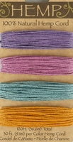 Jewel Tone Colors Hemp Cording Purple, Pink, Turquoise & Maize (3 cards 90' of each color )