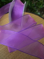 "Jewel Two Tone Purple Organdy Ribbon Wired 1.5"" wide 9 yds"