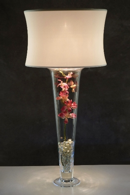 Ivory Drum Lamp Shade and Light for Vases