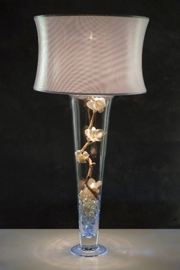 Silver Microdot Lamp Shade and Light for Vases
