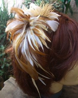 Large Natural Rooster, Coque, Ostrich Feather Fascinator