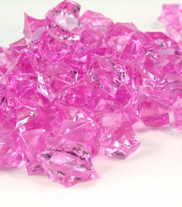 "Large Pink Acrylic Ice (1"") 46 ounces pkg"