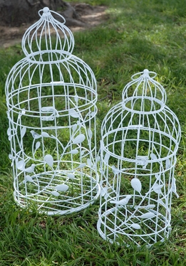 Wire Bird Cages White | Set of 2