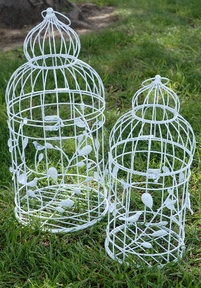 "Large Wedding Bird Cages White Round Birdcages (Set of 2 ) 23"" & 19.5"" set"