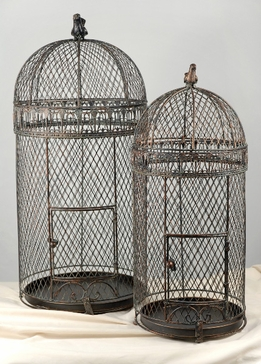 "Large Wired Bird Cages (set of two) 30"" & 25"""