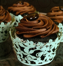 "Laser Cut Cupcake Wrappers ""Magnolia Mint"""