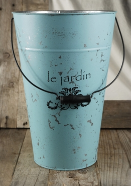 Le Jardin Blue 15in. Flower Market Buckets w/ Handles
