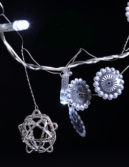 "LED Battery Operated Steampunk String Lights Silver Wire Stars 56"" 20 LED"