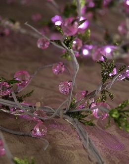 LED Lighted Crystal Bead & Leaf Vine Garland | Pink