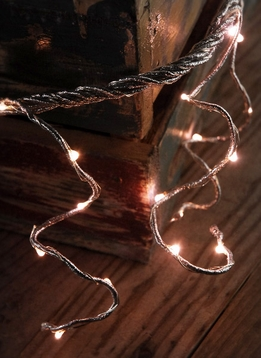 LED Lighted Silver Rope Garland Battery Operated | Warm Rose