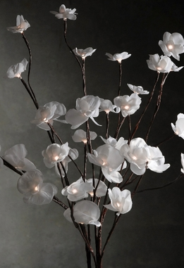 "Lighted Branches White Orchids 60 LED Clear Lights 39"" Battery Operated w/ timer ( three branches)"