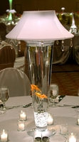Lighted Vase Lamp Shade (shines up and down) & White with Crystals Lampshade