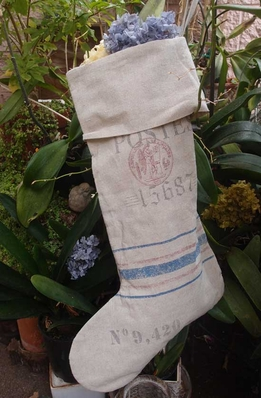 "Linen Feedsack Large Stocking (24"" x 14"")"