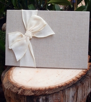 Linen Guest Book with White Burlap Bow