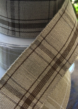 "Linen Ribbon Beige & Brown Tartan Plaid Wired Ribbon 1-1/2"" x 17 ft"