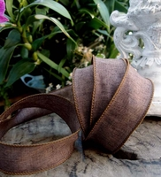 Linen Ribbon Brown 1.5 width 10 yards Wired