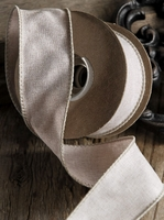 Linen Ribbon Ivory Wired 1.5 width 10 yards