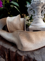 Linen Wired Burlap Ribbon 2.5 width 10 yards