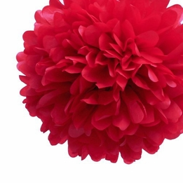 "Tissue Paper Pom Poms 20"" Mandarin Red (Pack of 4)"