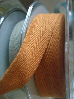 "Mango Orange Cotton Twill Ribbon 3/4"" wide 9 yards"