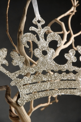Crown Ornament Silver Glitter