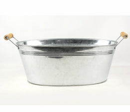 Galvanized Tub Oval 15in with Wood Handles