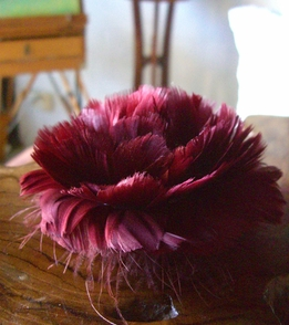 Millinery Feather Flowers Wine Rose