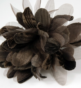 Millinery Flower, Brown Velvet & Organdy