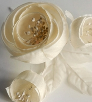Millinery Flowers Starched & Rolled Ivory Cream Roses