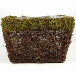 "Moss Pots 7.5"" Square Moss & Wicker"