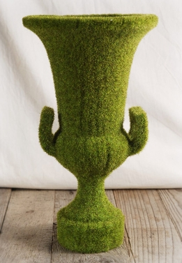 Faux Moss Covered Urn 14in x 7.5in
