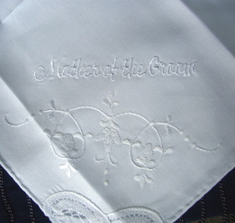MOTHER OF GROOM Embroidered Wedding Handkerchief for the